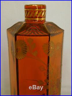 Carafe à liqueur en CRISTAL DE BACCARAT orange rehaussé à l'or fin ETIQUETTE