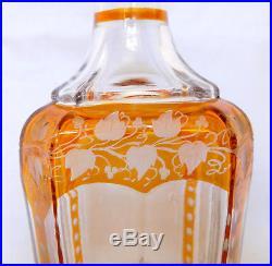 Carafe à liqueur en CRISTAL DE BACCARAT overlay ORANGE époque milieu XIXe