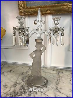 Chandelier / Candélabre En Cristal De Baccarat À Décor D'un Personnage De 44cm H
