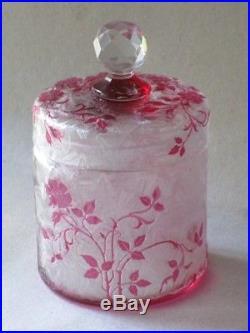 Cristal Baccarat Boîte A Poudre Garniture De Toilette Parfum Modele Eglantier