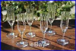 Cristal de Baccarat Capri Montaigne Optic 6 flûtes à Champagne Signées Crystal