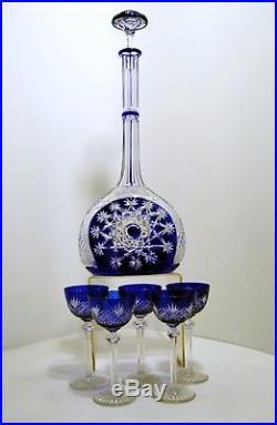 EXCEPTIONNELLE carafe BACCARAT 5 verres OVERLAY BLEU 1916 PRESTIGE MANDARIN TSAR