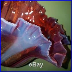 Enorme Tulipe De Lampe A Petrole Lamp Oil Victorian Satin Clichy Baccarat