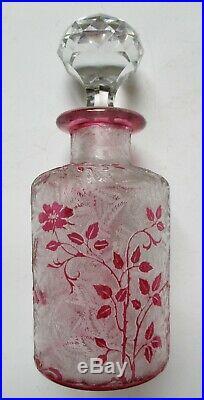 FLACON CRISTAL DE BACCARAT ÉGLANTIER ROSE 18 cm Art Nouveau 1900