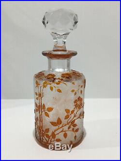Flacon à parfum en cristal de BACCARAT églantier orange gravé à l'acide