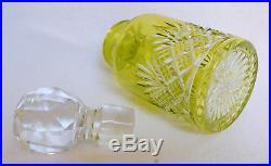 Flacon de toilette / à parfum en CRISTAL DE BACCARAT taillé OVERLAY vert 14cm