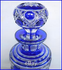 Flacon de toilette en CRISTAL DE BACCARAT modèle Diamants Pierreries doublé bleu