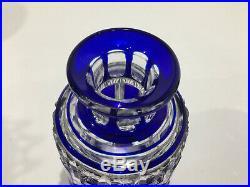 Flaconà parfum en cristal de BACCARAT bleu Côtes creuses et Diamants étoilés