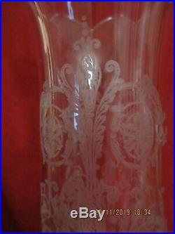 GRAND PHOTOPHORE EN CRISTAL DE BACCARAT BAMBOU verrine gravée arabesque
