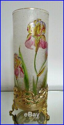 Grand Vase aux Iris dégagé à l'acide BACCARAT monture laiton Art Nouveau 1900