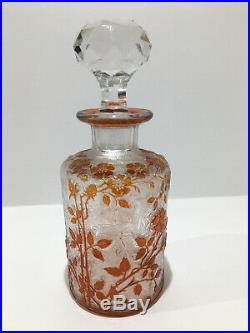 Grand flacon à parfum en cristal de BACCARAT églantier orange gravé à l'acide