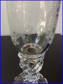 Grand photophore en cristal moulé gravé de Baccarat modèle Bambou Design XXème