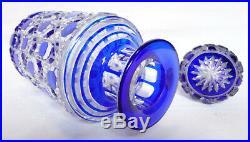 Grd Flacon en cristal de Baccarat modèle Diamants Pierreries doublé bleu 19,5cm