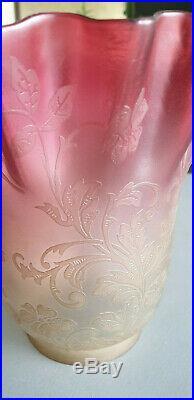 Gros Verre de lampe à pétrole cristal baccarat saint louis fleurs (A)