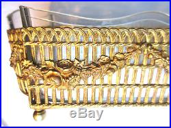 Jardinière Centre de table cristal BACCARAT guirlandes de Roses bronze Louis XVI
