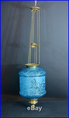 Lampe Lanterne signée Baccarat Bleu pétrole Russian Troika hanging lantern 19e