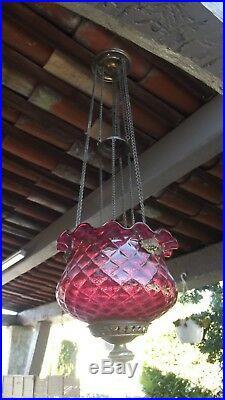 Lanterne suspension monte et baisse En Cristal verre Baccarat 1900 art nouveau