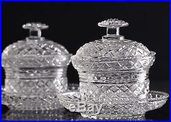 Le creusot, Baccarat, paire de confiturier en cristal taillé époque Empire