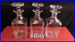 Lot de 3 carafes Harcourt en cristal de Baccarat pour cave à liqueur