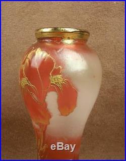 Magnif Vase Art Nouveau Verre Grave A L'acide Decor Iris Baccarat Val St Lambert
