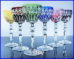 Magnifique 6 Verres A Vin En Cristal Couleur Taille Baccarat, Val St Lambert