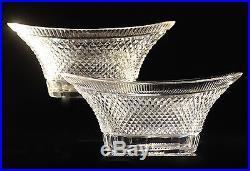 Montcenis ou Baccarat, rare paire de coupes navettes en cristal taillé