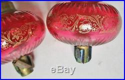 Paire anciennes toupies de piano réservoir de lampe à pétrole cristal baccarat