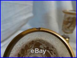 Paire de bougeoirs tulipe ancien cristal gravé degagé acide 19eme baccarat