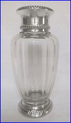 Paire de vases en CRISTAL DE BACCARAT modèle Malmaison, monture ARGENT MASSIF