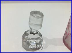 Petit flacon à parfum en cristal de BACCARAT églantier rose gravé à l'acide
