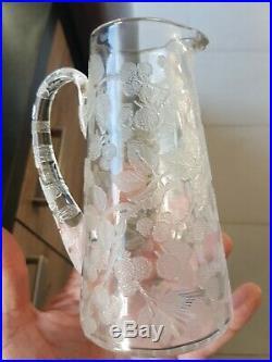 Pichet En Cristal De Baccarat/ St Louis Décor Ronce Mûres Dégagé Acide old glass