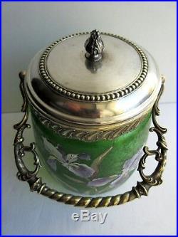 Pot à biscuits BACCARAT, seau cristal vert dégagé acide, émaillé LEGRAS Iris