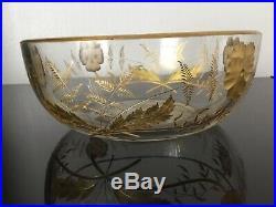RARE Coupe BACCARAT en Cristal Gravé Décor À lOr de Pensées 1890 circa