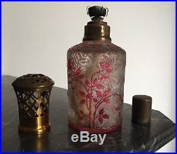 Rare Lampe Berger en cristal Dégagé À Lacide de Baccarat modèle Eglantier rose