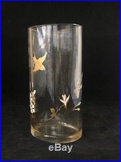 Rare Vase Emaillé En Cristal Decor Hirondelle Baccarat 19 Eme Antique Vase 19th
