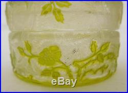 Rare boîte à poudre en CRISTAL DE BACCARAT, modèle EGLANTIER vert chartreuse