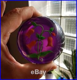 Rare boule Presse Papier Sulfure BACCARAT Fleurs à Clochette Orange clichy old