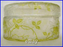 Rare grande boîte à poudre ovale en CRISTAL DE BACCARAT, modèle EGLANTIER