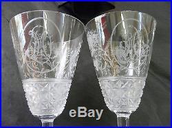 Rare paire verres mariage cristal baccarat 19eme grave bouquets roses monogramm