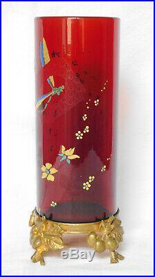 Rare vase rouleau ART NOUVEAU en CRISTAL DE BACCARAT rouge et bronze doré SIGNE