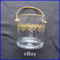 Seau à glaçon en cristal de baccarat modèle recamier décor or