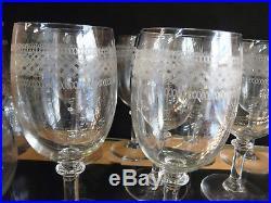 Serie De10 Verres A Eau Cristal Grave Baccarat Tres Bel Etat