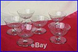 Série de 6 coupes à champagne en cristal de Baccarat modèle Argentina