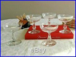 Service Fougères, cristal Baccarat. 4 (+1) coupes à champagne