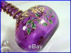 Service Liqueur Cristal Emaillé Baccarat Violet Décor Fleurs, 11 pcs, numéroté