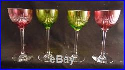 Service de 4 roemers en cristal de Baccarat modèle Nancy, couleur rose et vert