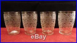 Service de 4 verres à eau en cristal de Baccarat modèle Rohan, hauteur 10 cm