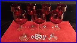 Service de 7 verres à vin roemers en cristal rose / rouge Baccarat 17 cm