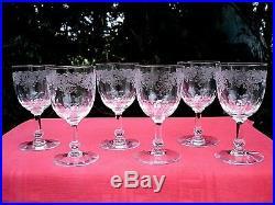 Sevres Clichy 6 Water Wine Glasses Wassergläser Verre A Eau Vin Cristal Gravé Aj