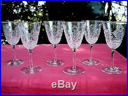 Sevres Clichy 6 Wine Glasses Weingläser Verres A Vin Cristal Gravé Ak Baccarat